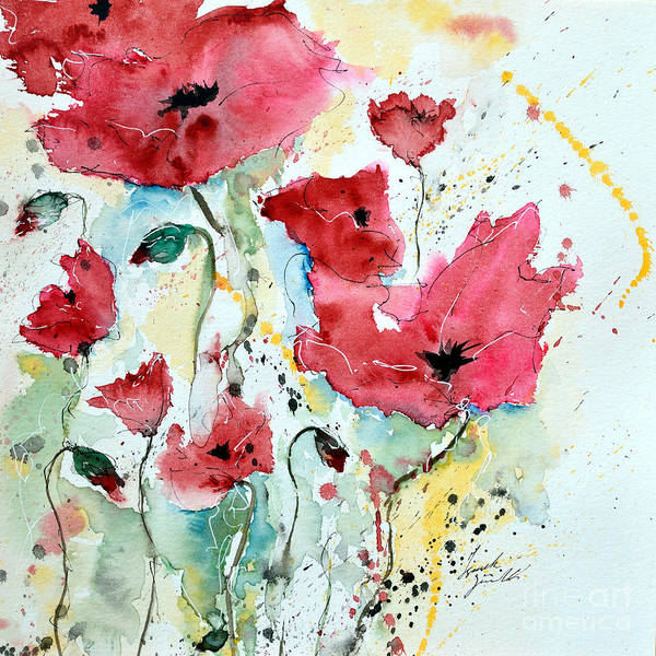 Poppies Art Print featuring the painting Poppies 05 by Ismeta Gruenwald