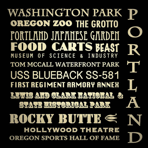 Portland Famous Landmarks Art Print featuring the digital art Portland Oregon Famous Landmarks by Patricia Lintner