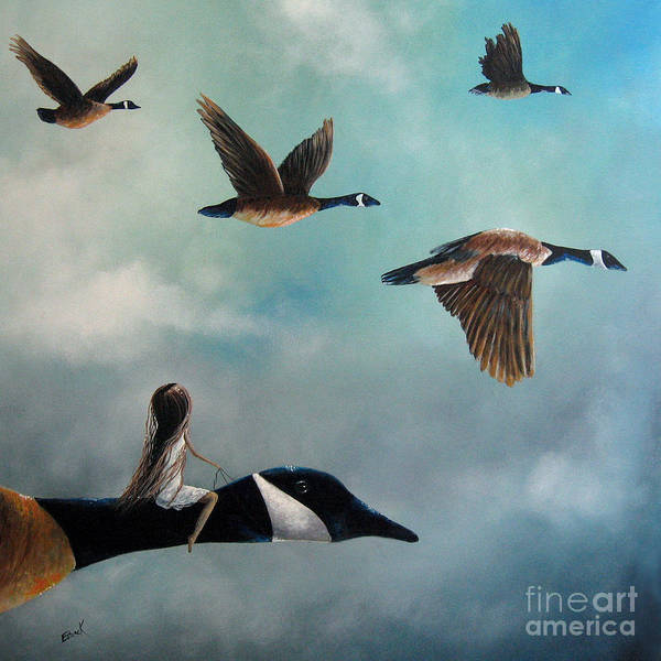Canada Geese Art Print featuring the painting Queen Of The Canada Geese By Shawna Erback by Shawna Erback