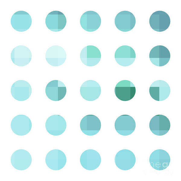 Abstract Art Print featuring the painting Rainbow Dots Aqua by Pixel Chimp