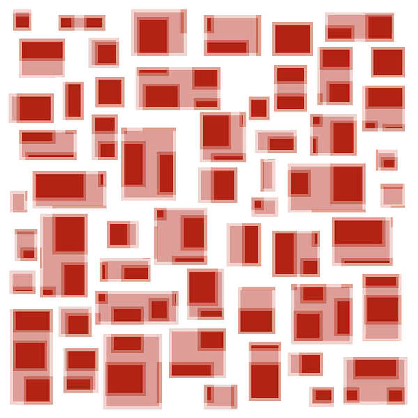 Geometric Abstract Art Print featuring the painting Red Abstract Rectangles by Frank Tschakert