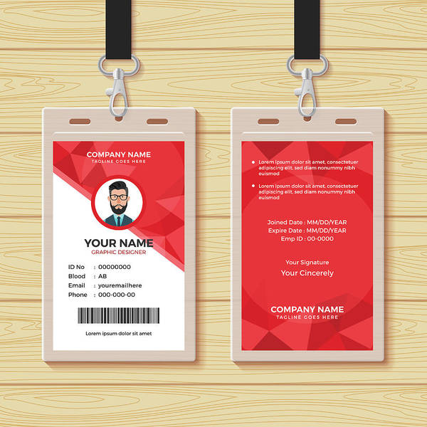 Card By Art Employee Bonezboyz Print Id Design Geometric Red Template