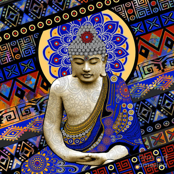 Buddha Print featuring the painting Rhythm Of My Mind by Christopher Beikmann