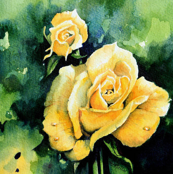 Rose Print featuring the painting Roses 5 by Hanne Lore Koehler