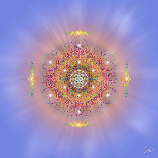 Endre Art Print featuring the digital art Sacred Geometry 156 by Endre Balogh
