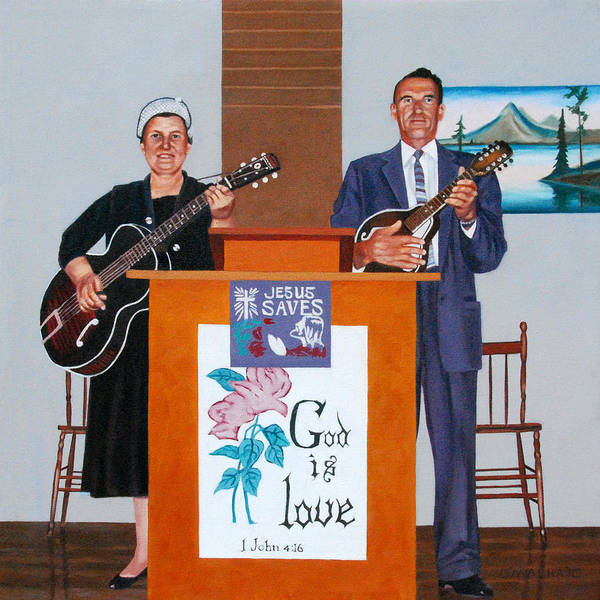 Couple Singing Art Print featuring the painting Sadie And Lawrence Sing For Jesus by Allan OMarra