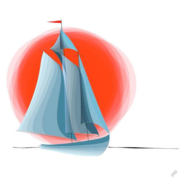 Yachting Art Print featuring the digital art Sailing Red Sun by Ben and Raisa Gertsberg