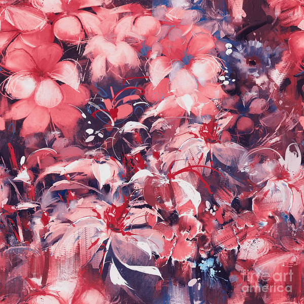 Floral Art Print featuring the digital art Seamless Abstract Flowers,oil Painting by Tithi Luadthong