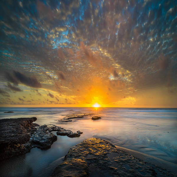California; Long Exposure; Ocean; Reflection; San Diego; Sand; Seascape; Sky; Sunset; Surf; Seaside; Sun; Clouds; Southern California; Cloud; Water; Waterscape; Reef; Sea; Pacific; Waves; Coast; Coastal;skyline Art Print featuring the photograph Seaside Sunset - Square by Larry Marshall