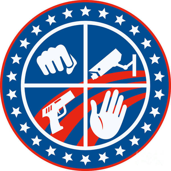 Security Art Print featuring the digital art Security Cctv Camera Gun Fist Hand Circle by Aloysius Patrimonio