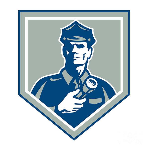 Policeman Art Print featuring the digital art Security Guard Flashlight Shield Retro by Aloysius Patrimonio