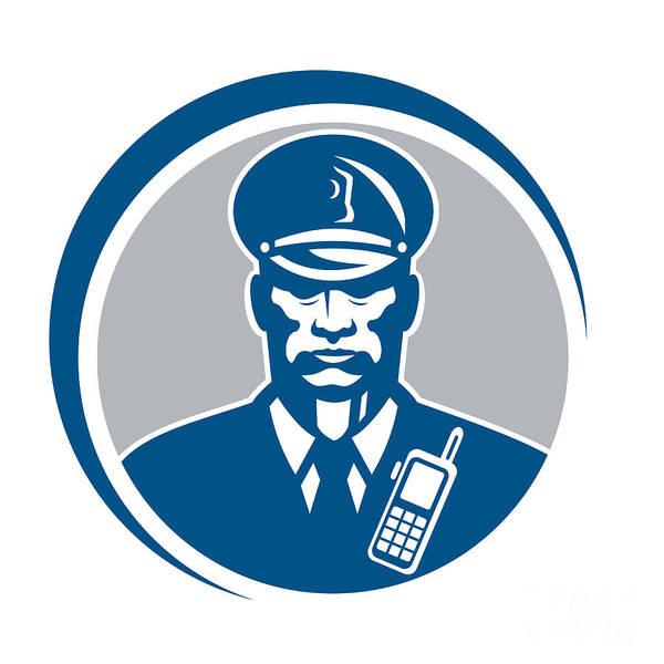 Policeman Art Print featuring the digital art Security Guard Police Officer Radio Circle by Aloysius Patrimonio