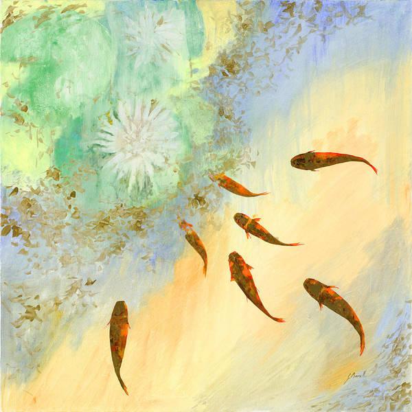 Koi Art Print featuring the painting Sette Pesciolini Verdi by Guido Borelli
