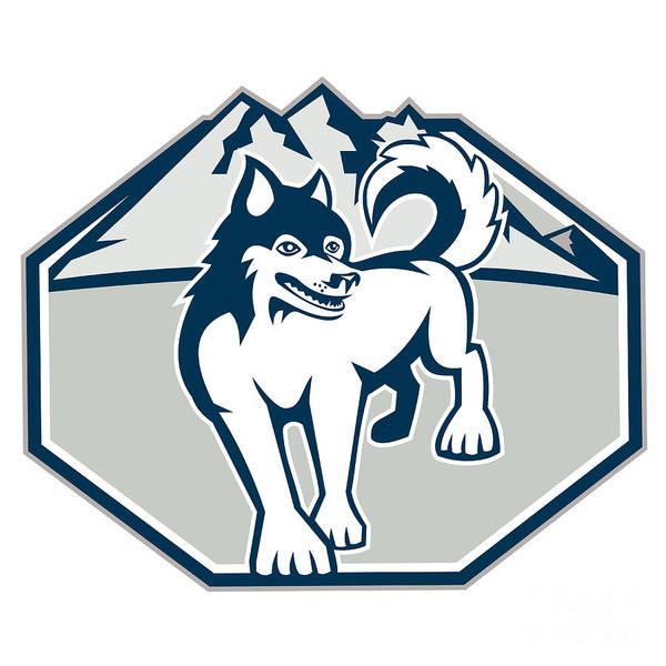 Siberian Husky Art Print featuring the digital art Siberian Husky Dog Mountain Retro by Aloysius Patrimonio