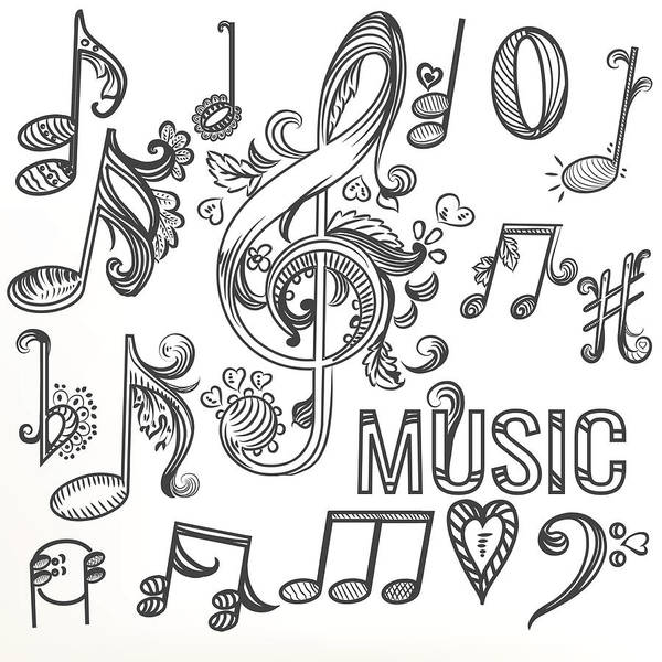 Sketchy Doodle Set Treble Clef And Other Music Symbols Art Print