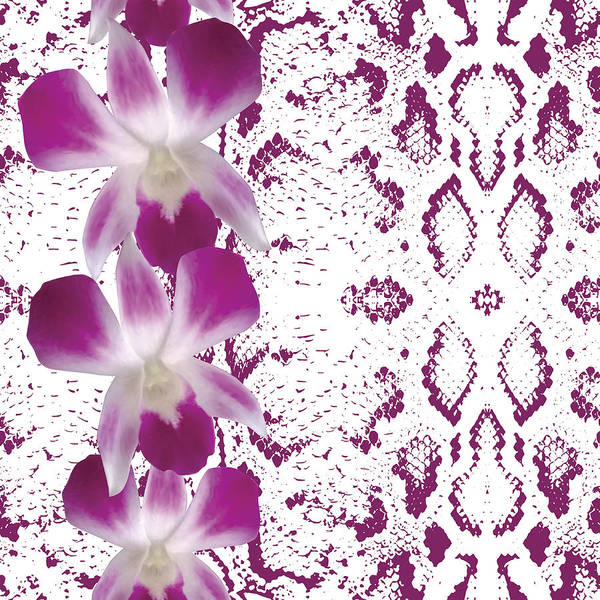 Snake Skin Texture Pink Flowers Orchid Seamless Pattern White