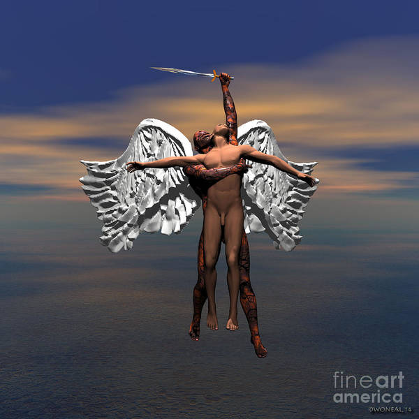 Fantasy Art Print featuring the digital art Soul Ascending by Walter Oliver Neal