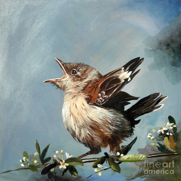 Bird Art Print featuring the painting Spring's Promise - Mockingbird Baby by Suzanne Schaefer