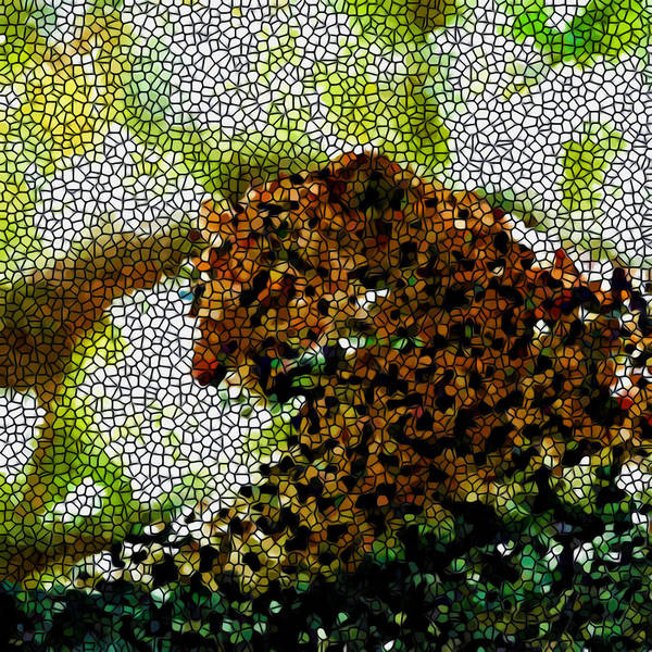 Stained Glass Leopard Art Print featuring the painting Stained Glass Leopard 2 by Jeelan Clark