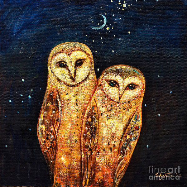 Owl Print featuring the painting Starlight Owls by Shijun Munns