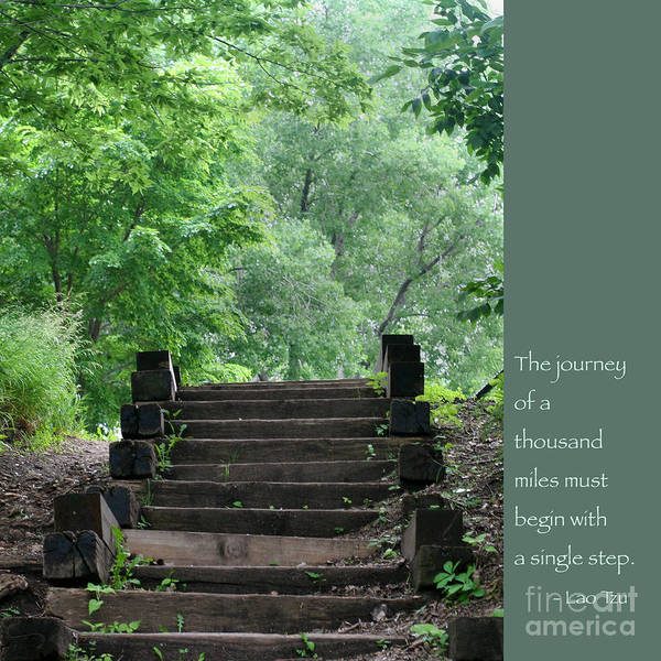 Zen Art Print featuring the photograph Steps And Lao Tzu Quote by Heidi Hermes