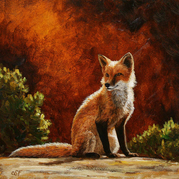 Dog Art Print featuring the painting Sun Fox by Crista Forest