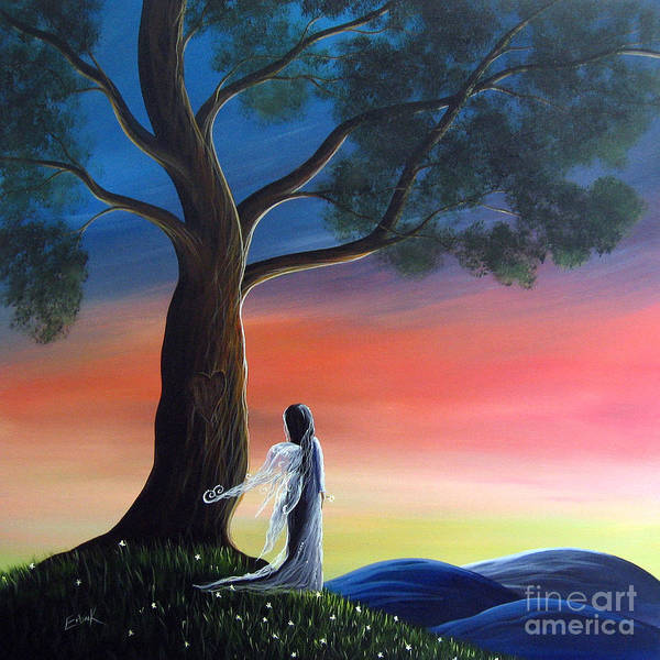 Fairies Art Print featuring the painting Sunset Fairy By Shawna Erback by Shawna Erback