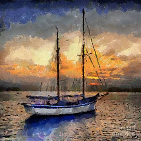 Landscapes Art Print featuring the painting Sunset In The Bay by Dragica Micki Fortuna