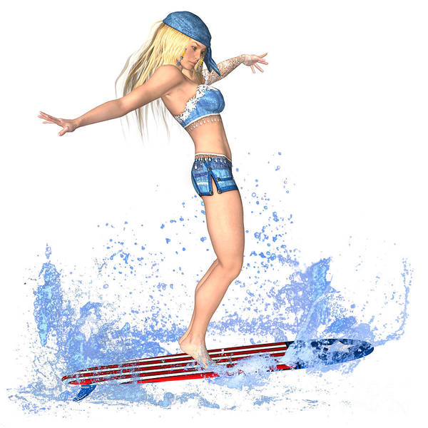 Surfing Girl Art Print featuring the painting Surfing Girl by Renate Janssen