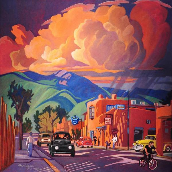 Taos Art Print featuring the painting Taos Inn Monsoon by Art James West