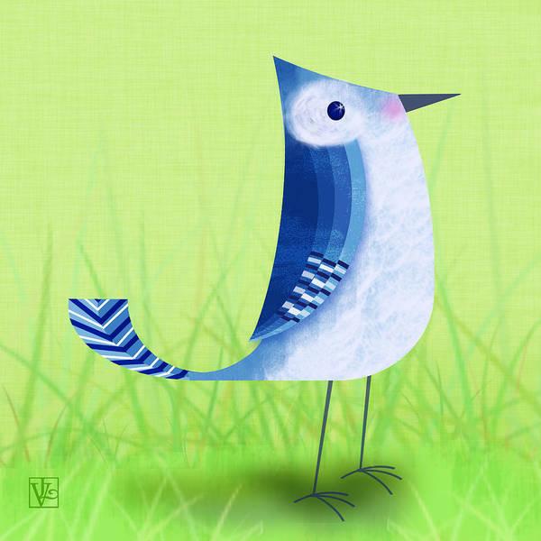Bird Art Print featuring the digital art The Letter Blue J by Valerie Drake Lesiak