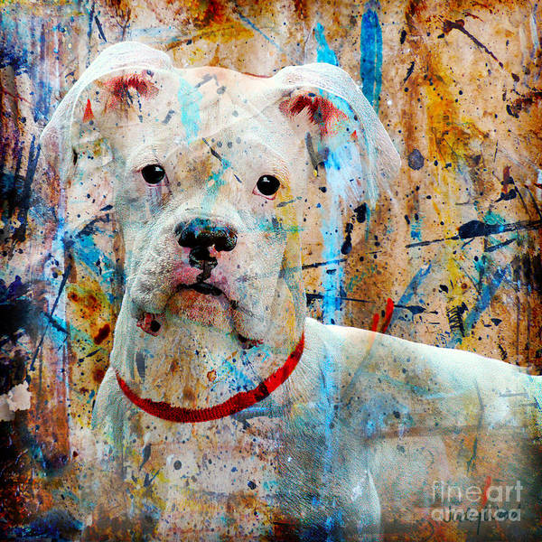 Dog Art Print featuring the digital art The Painter's Dog by Judy Wood