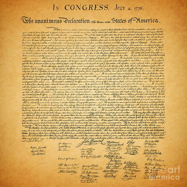 Usa Art Print featuring the photograph The United States Declaration Of Independence - Square by Wingsdomain Art and Photography