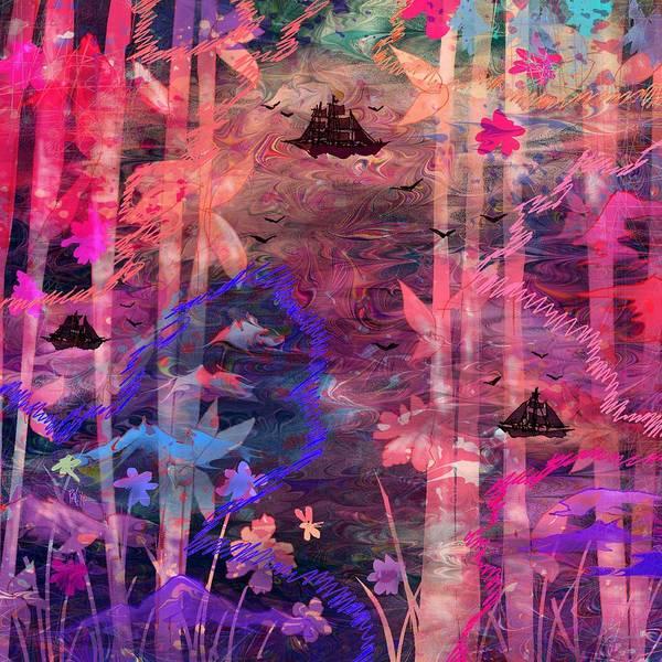 Landscape Art Print featuring the digital art Three Ships by Rachel Christine Nowicki