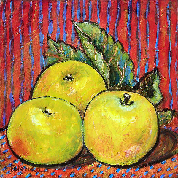 Painting Art Print featuring the painting Three Yellow Apples by Blenda Studio