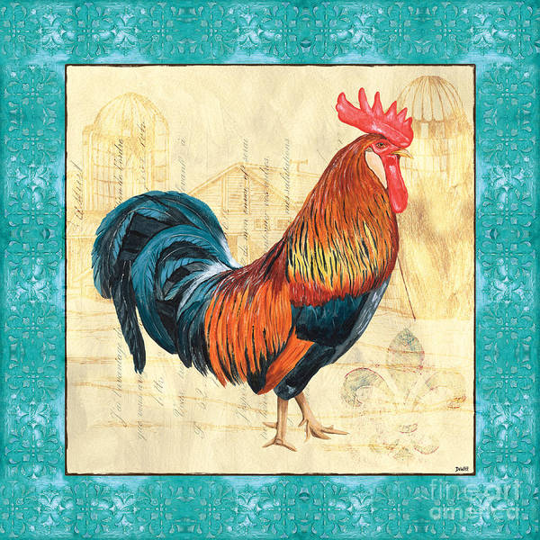 Roosters Art Print featuring the painting Tiffany Rooster 1 by Debbie DeWitt