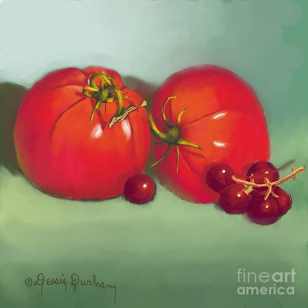 Tomatoes And Concord Grapes Art Print featuring the digital art Tomatoes And Concord Grapes by Dessie Durham
