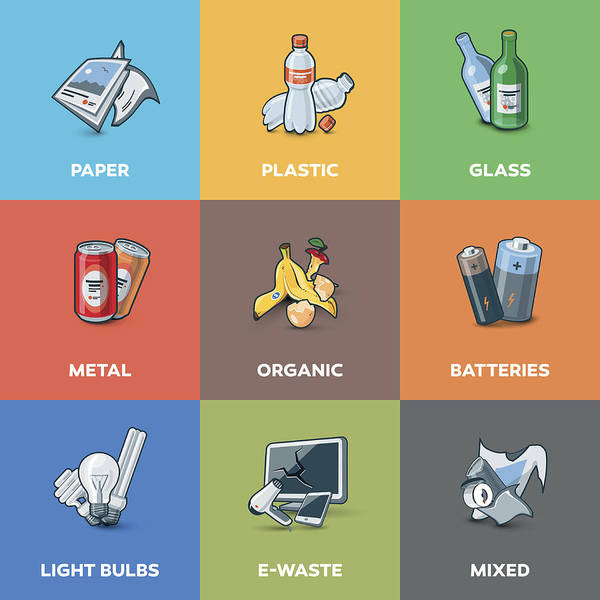 Trash Waste Recycling Categories Types Art Print