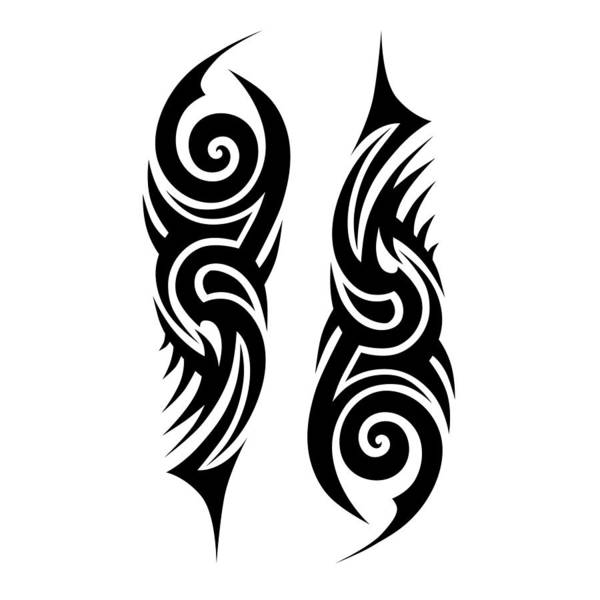 Tribal Tattoo Designs Vector Sketch. Simple Abstract Black Ornament ...