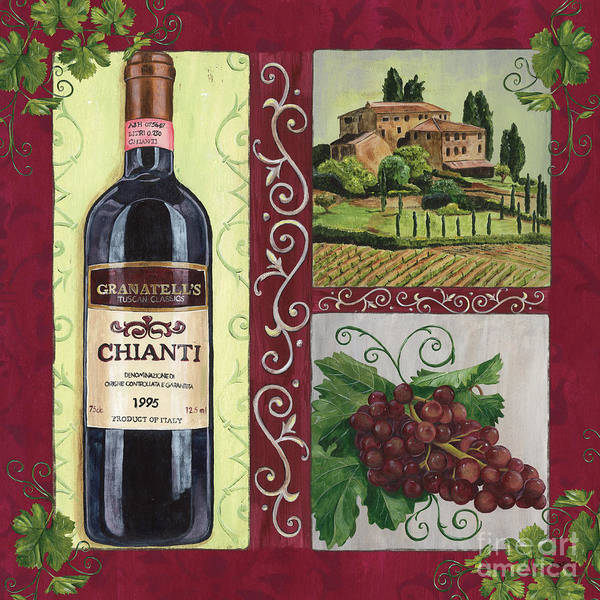 Wine Art Print featuring the painting Tuscan Collage 1 by Debbie DeWitt