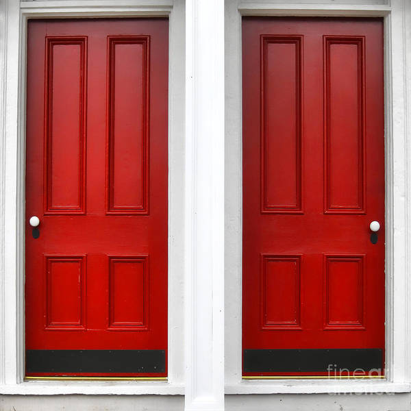Doors Art Print featuring the photograph Twin Red Doors by Olivier Le Queinec