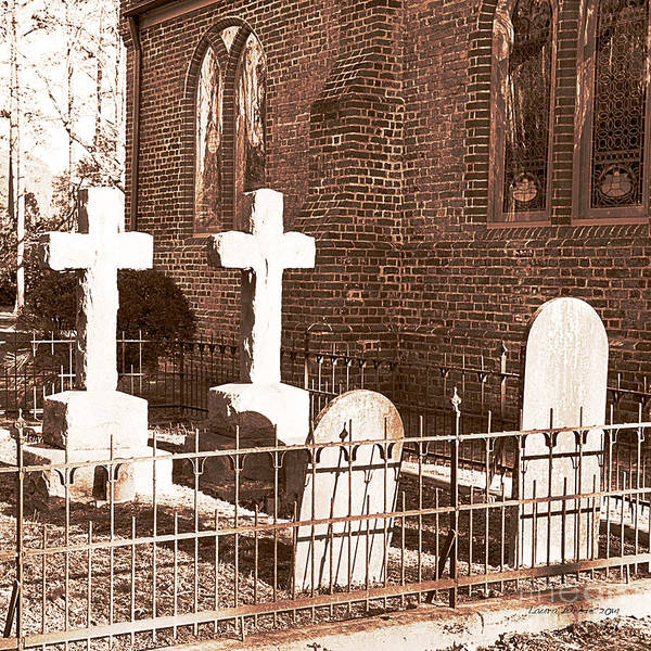 Saint Lukes Church Art Print featuring the photograph Two Crosses In Saint Lukes by Artist and Photographer Laura Wrede