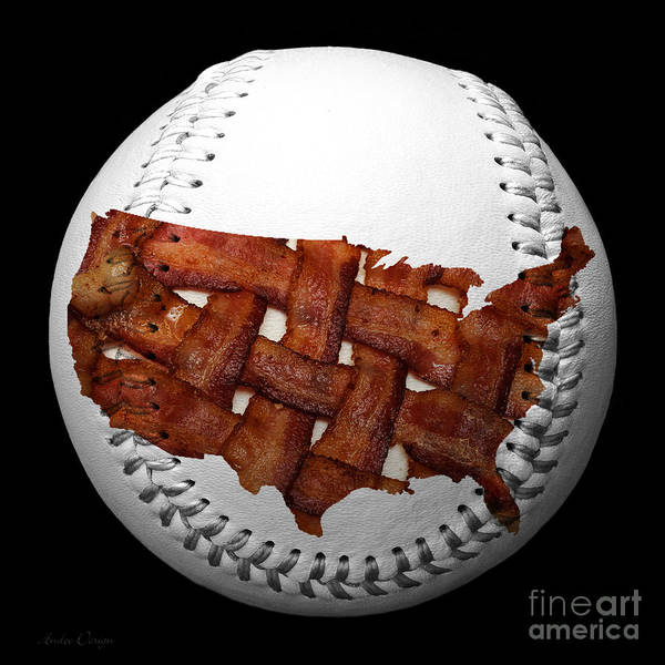 Baseball Art Print featuring the photograph Us Bacon Weave Map Baseball Square by Andee Design