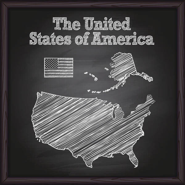 Usa Map On Chalkboard Art Print By Forest Strider