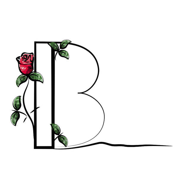 efe19f4d5033 Concepts   Topics Art Print featuring the drawing Vector Capital Initial  Letter B With Red Rose