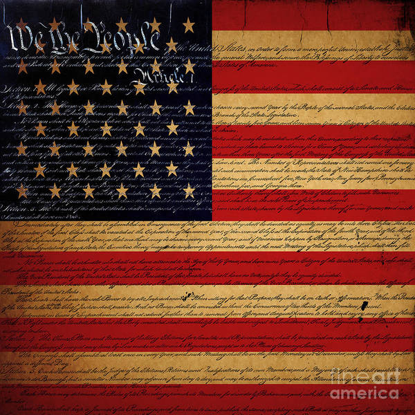 Usa Art Print featuring the photograph We The People - The Us Constitution With Flag - Square V2 by Wingsdomain Art and Photography