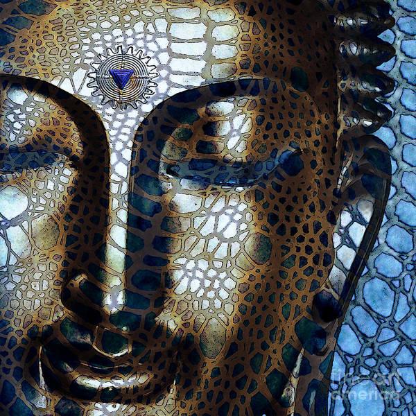 Buddha Art Print featuring the digital art Web Of Dharma - Modern Blue Buddha Art by Christopher Beikmann