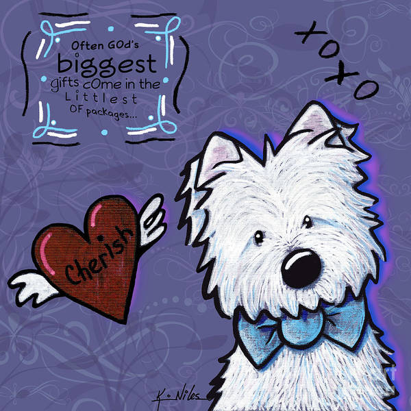 Kiniart Art Print featuring the digital art Westie Wall by Kim Niles