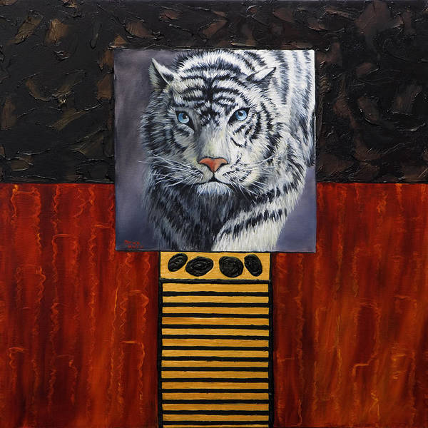Animal Art Print featuring the painting White Tiger by Darice Machel McGuire