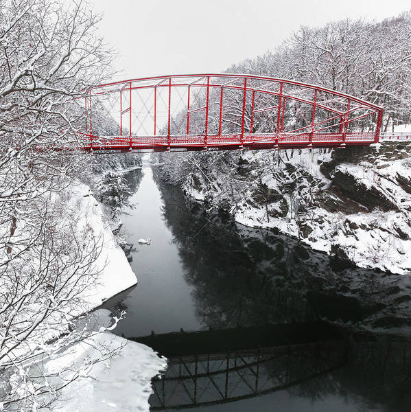 Historic Bridge Art Print featuring the photograph Winter Solitude Square by Bill Wakeley